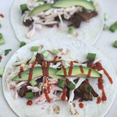Pulled Pork Tacos with Sriracha Slaw