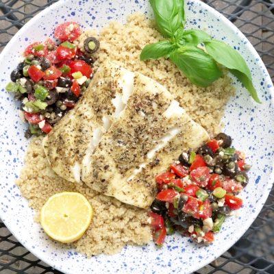 Halibut with Mediterranean Salsa + Quinoa