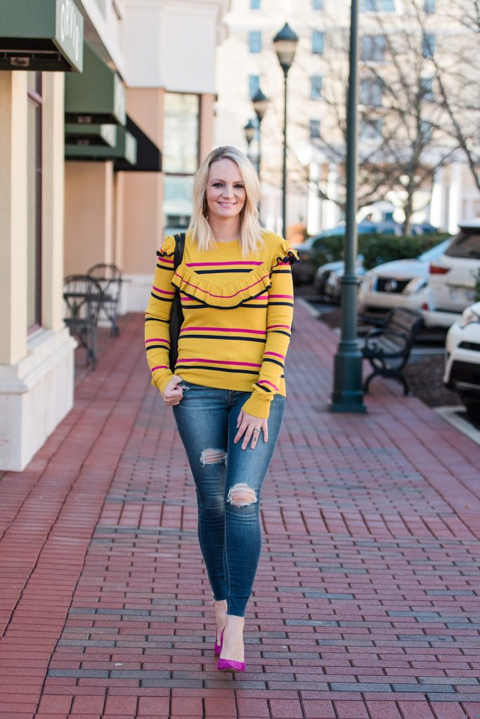This yellow sweater is so bright and cheerful and the pop of pink from my heels is always a good idea!