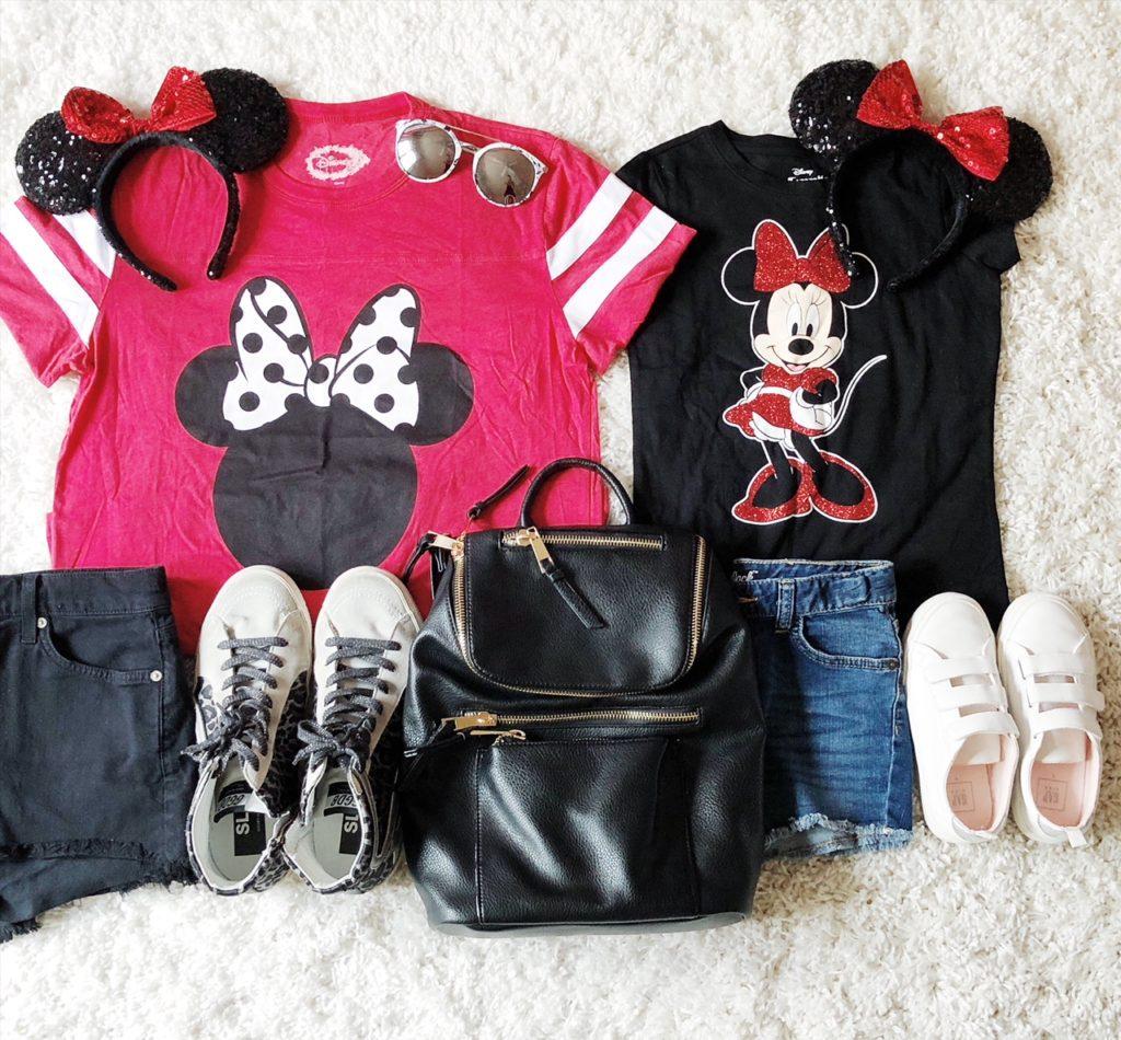Bow T-shirt | BlackCut-offs | Minnie T-shirt | Cut-offs |Sneakers