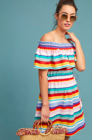 Off-the-Shoulder Striped Dress
