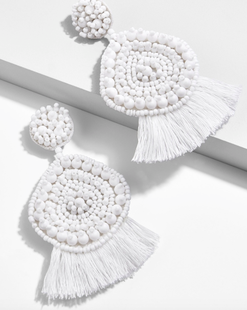 White Statement Earrings