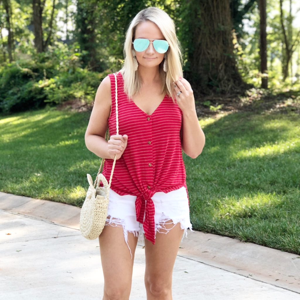Tie-Front Top  $30| Shorts $59 | Earrings $36 |Sunglasses $65