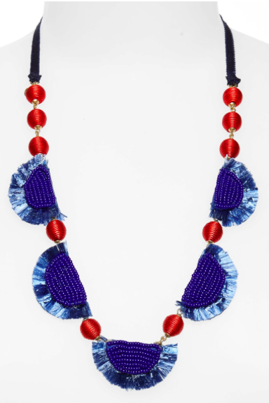 Bead + Raffia Necklace  $62