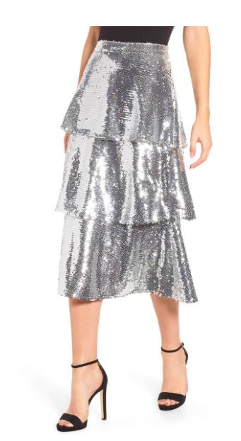Tiered Sequin Skirt